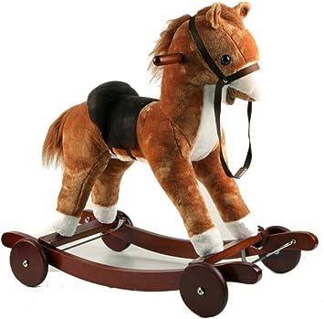 Cavallo a Dondolo per Bambini Legno Peluche Cavallino Giocattolo