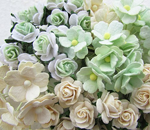 (80 pcs Green Ivory mixed Mulberry Paper Flower 18-20 mm scrapbooking wedding doll house supplies card)