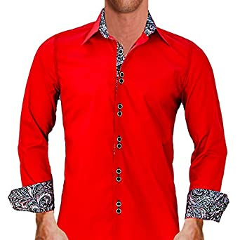 f5cd1d28ab1c Bright Red with Black Paisley Designer Dress - Shirt Made In USA at Amazon  Men s Clothing store