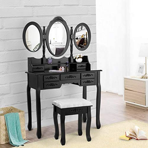 Endicot Black Vanity Makeup Dressing Table Desk Set 7 Drawers with Oval Mirror and Stool | Model DRSSR - 72
