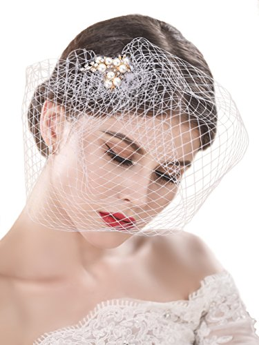 Yean Wedding Bridcage Veil with Rhinestones Embellishments Comb Floral Fascinator Netting Short Blusher Veil for (Blusher Veils)