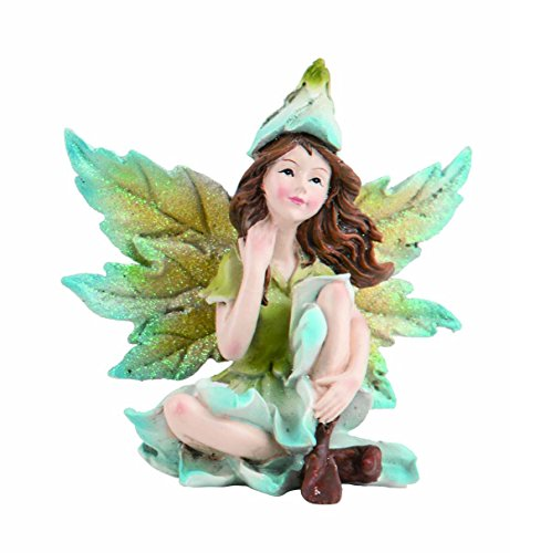 Transpac Imports, Inc. Sky Blue Leaf Wing Sitting Blossom Fairy 5 x 5 Resin Stone Garden Figurine (Wings Fairy Figurine)