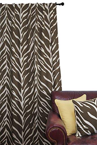 EZ Living Home H101W84CB Zebra Window Panel, Cream On Brown, 50x84,Cream on (Brown Cream Zebra)
