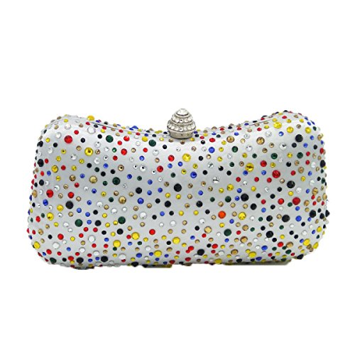 Ladies Evening Bag Sac D'embrayage De Banquet De Diamant Chaud De Mode Sac à Main De Rhinestones Sac De Chaîne De Dîner De Type D'oreiller silver