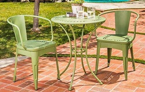 Luca Outdoor- Sunroom Furniture- Out Door Patio Furniture- Matte Green Cast Iron Three Piece Round Set - Great for Summer Barbecues, Garden Parties, and Afternoons Spent Lounging