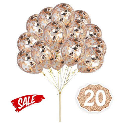 Champagne Rose Gold Confetti Balloons, Round 12 Party Balloons Latex Transparent Champagne Rose Golden Balloons with Gold Ribbon for Wedding, Proposal, Birthday Party Decorations (20 Pack)
