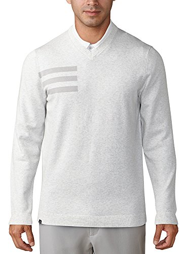 adidas Golf 2018 Mens 3-Stripes Blend Crewneck Golf Sweater Grey Onix Heather Medium ()
