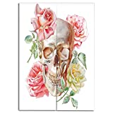 iPrint Door Curtain(Two Panels) Print,Skull,Skull with Roses Living and The Dead Humor Romantic Evil Face Image Art Deco,Pink Beige Yellow,3D Print Design,W43.3 xH47.2