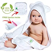 Organic Bamboo Hooded Baby Towel and Washcloth Set | Extra Large Toddler Towel | Soft and Thick Bamboo Baby Bath Towels with Hood for Newborn Girls and Boys 500 GSM | White Baby Towels with Bear Ears