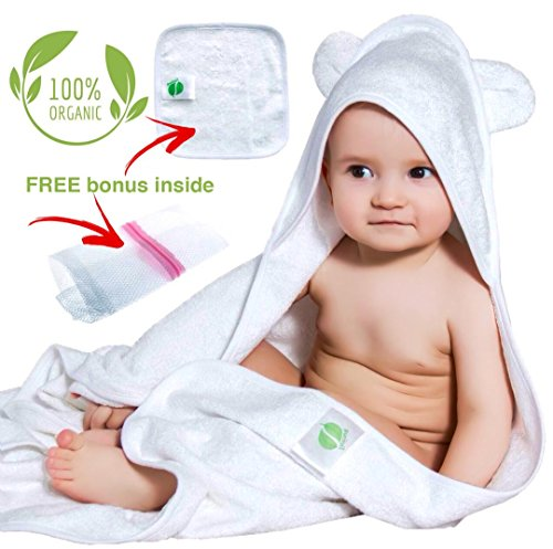 Organic Bamboo Hooded Baby Towel and Washcloth Set   Extra L