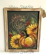 Fall painting,Pumpkin and Sunflower,wall art,porch decor,outdoor art,window screen art,original, handmade,hand