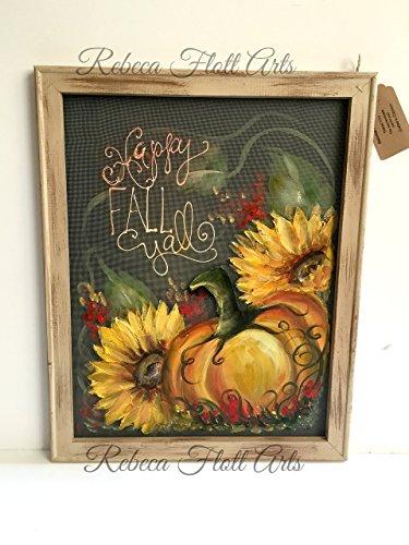 Fall painting,Pumpkin and Sunflower,wall art,porch decor,outdoor art,window screen art,original, handmade,hand painted,customize,happy fall