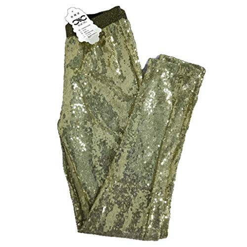 Withchic Gold Sequin Sparkle Leggings Shiny Bling Tights Glitter Pants M ()