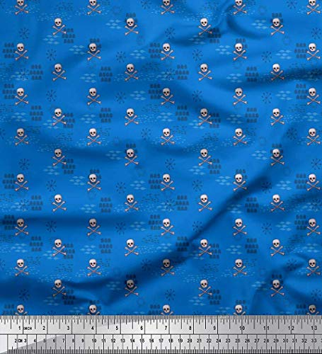 (Soimoi Blue Cotton Voile Fabric Crossbone & Skull Halloween Print Fabric by The Yard 56 Inch Wide)