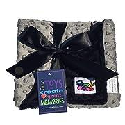 Reversible Unisex Children's Soft Baby Blanket Minky Dot (Choose Color) (Black,Grey)