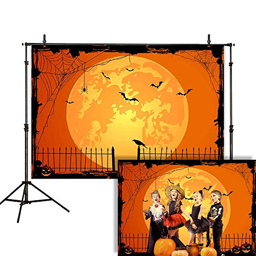 Allenjoy 7x5ft Happy Halloween Backdrop Jack O'Lantern Pumpkin Lantern Orange Night Moon Bat Spider Web Graveyard Fence Photography Background Party Decorations Cake Table Banner Photo Studio Booth]()