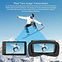 Drone with VR Glasses, Potensic Quadcopter Racing Drone With 720P HD Live Camera RTF 4 Channel 5.8Ghz FPV LCD Screen Monitor 6-Gyro(360 Degree Flip) Headless Mode & Altitude Hold Function from Potensic