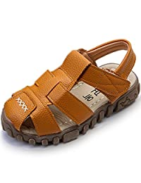 WALUCAN Boys' Closed-Toe Leather Outdoor Sport Casual Sandals(Toddler/Little Kid)