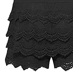 Women\'s Elastic Waist Lined Crochet Lace Scallop Hem Casual Mini Shorts
