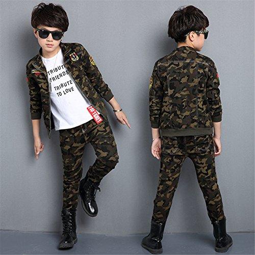 FTSUCQ Girls/Boys Zip Front Camo Sports Tracksuits Jacket Coat + Pants