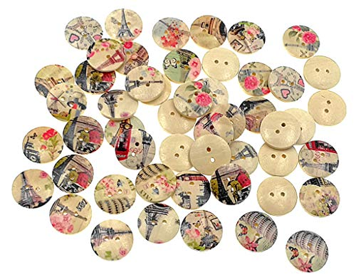 Kinteshun Wooden Buttons Round Natural Wood 2-Holed Fastener Buttons for Sewing Knitting Handcraft(100pcs,Off-White,Assorted Towers Printing Patterns)