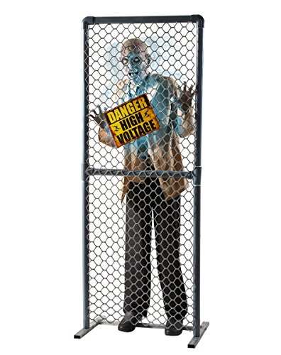 Spirit Halloween 5.8 Ft Fenced-In High-Voltage Zombie Animatronics - Decorations
