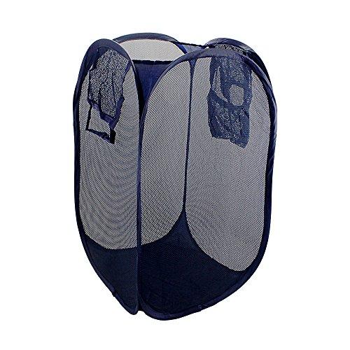 BeGrit Mesh Pop-up Laundry Hamper Foldable Basket Storage Bag with Side Pocket and Handles
