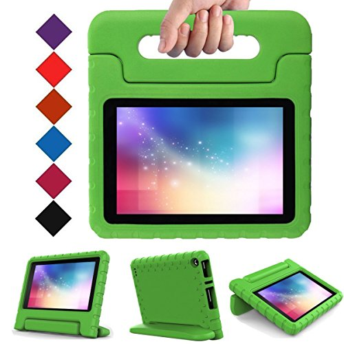 LTROP-Case-for-Fire-7---Shock-Proof-Light-Weight-Kids-Case-Super-Protection-Cover-Convertible-Handle-Stand-Case-for-Fire-7-inch-Display-Tablet-7th-Generation---2017-Release-Green