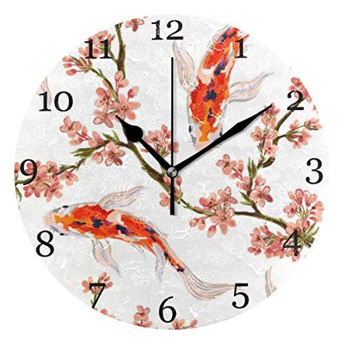 KUWT Koi Fish Japanese Sakura Wall Clock Silent Non-Ticking 9.5 Inch Round Clock Acrylic Art Painting Home Office School ()