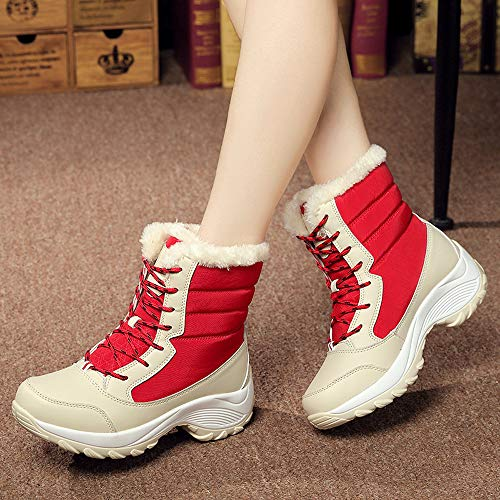 Fur Non Boots Platform Plus Tube Platform Shoes nbsp; Solid Sports Velvet Anglewolf Women's Women Waterproof Side Color Ankle Snow Plush UK 41 Blue Snow Bottom Thick Ladies Short Red 6 Increase Suede Slip 5OvIw