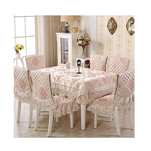 NDJqer 9Pcs/Set Embroidered Floral Table Cloth with Chair Covers Tablecloth Rectangular Dining Table Covers Red Gold Jade About 130X180Cm (8 Seater Dining Table And Chairs Ikea)