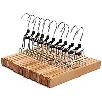 10 Pack JS HANGER Natural Solid Wooden Collection Slack Hangers
