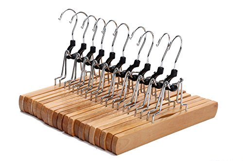 Wooden Trouser Hangers (J.S. Hanger Natural Solid Wooden Collection Slack Hanger, Wood Skirt Hangers, Natural Polished, Set of 10)