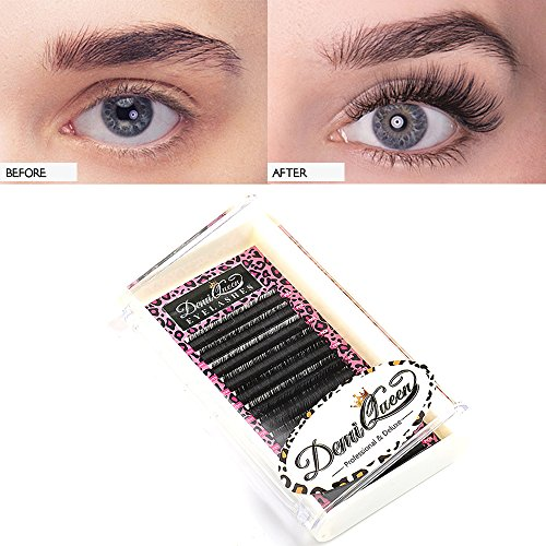 Demi Queen 100% Real Mink Individual Eyelashes Extensions C Curl Volume Eye Lash Professional Salon Use Mix 8mm-14mm (C Curl) (Demi Mink)
