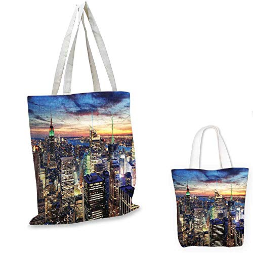 New York canvas laptop bag Skyline of NYC with Urban Skyscrapers at Sunset Dawn Streets USA Architecture shopping bag for women Orange Blue. 16