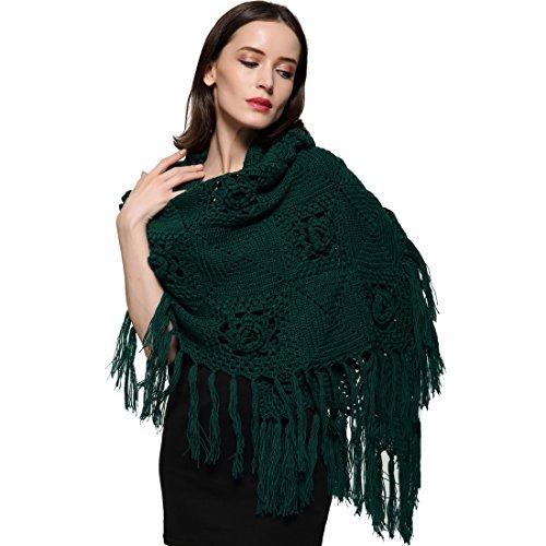 ZORJAR Wool Winter Scarf Crochet Warm Triangle Thick Fashion Scarves For Women Darkgreen by ZORJAR