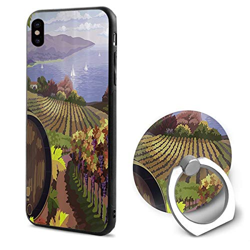 LeYue iPhone Xs/X Case, French Town Scenery Slim Fit Liquid Silicone Gel Rubber Shockproof Case Soft Cover +Finger Ring Holder Stand Grip Mount Kickstand for iPhone X/XS 5.8 -