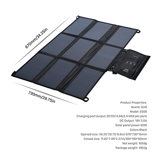 LESHP Highest Efficient Solar Charger 60W Foldable Sunpower Solar Panel Charger Dual Output (5V USB + 18V DC) For StorageBattery, iPhone, iPad, Android Smart Phone by LESHP (Image #6)