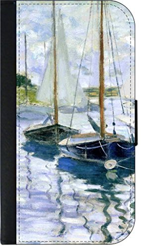 (Claude Monet's Boats at Rest at Petit Gennevillier -SAMSUNG GALAXY S6 EDGE-(Not the Standard s6) Wallet Case with Flip Cover and Magnetic Clasp-Leather-Look)
