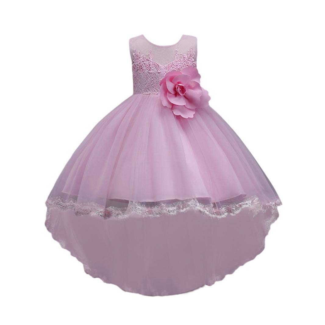 SCSAlgin Floral Baby Girl Princess Bridesmaid Pageant Gown Birthday Party Wedding Dress (Pink, 6T)