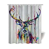 CHARMHOME Art Painting Deer Bath Home Decor of Waterproof Bathroom Polyester Fabric Mildew Resistant 66''(w)x72'' (h)Inch With 12 Hooks