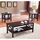 K & B Furniture T92 3 Piece Cocktail and End Table Set
