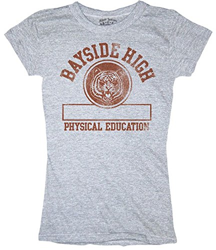 Saved By the Bell Bayside High Physical Education Gray Juniors T-shirt (Saved By The Bell Costumes)