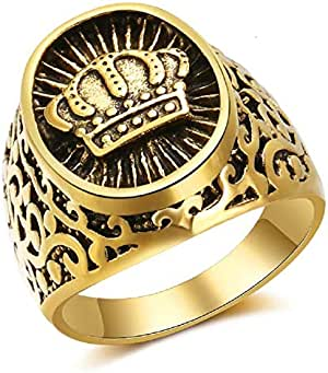 Gold K21 Plated Ring with Royal Crown prominent inscription size US 9
