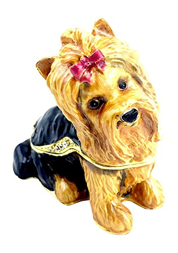 [Bejeweled Yorkshire Terrier Trinket / Jewelry Box by Kubla Craft] (Yorkshire Terrier Jewelry)