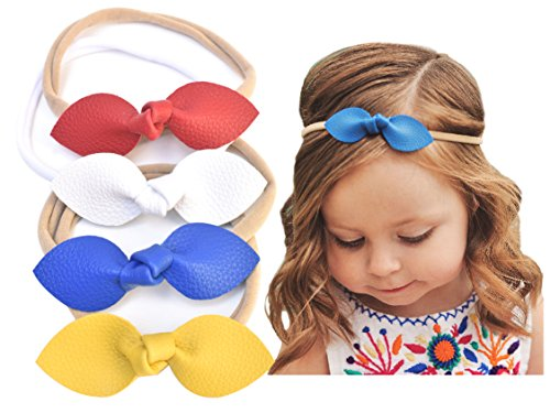 Rabbit Ears Faux Leather Bow–Stretch Headbands for Baby Toddler Girls, Set of 4