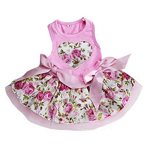 Ameda Rose Heart Dog Dress Large Pink
