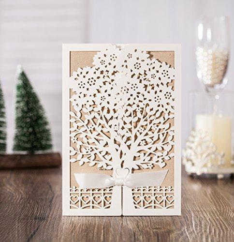 100x Wishmade White Tree Design Wedding invitation card, business invitation card, Party invitation card CW6176 by wishmade