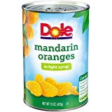 Dole Mandarin Oranges, Whole Segments in Light Syrup, 15 Ounce Can, All Natural Mandarin Orange Segments Packed in Light Syrup, Naturally Fat-Free & Cholesterol-Free, Rich in Vitamin C, No Added Sugar
