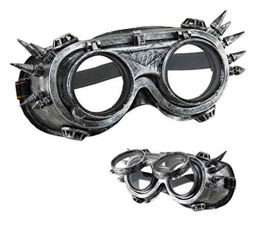 Faerynicethings Adult size Steampunk Flip Up Aviator Goggles with Spikes - - Steampunk Flip Goggles Up